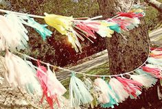 pretty garland made of tissue paper