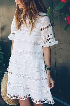Romantic Lace Mini Midi Dress Ideas 10 – Fiveno Visit the post for more. White Dress Outfit, Dress Outfits, Lace Dress, Fashion Outfits, Fashion Ideas, Cute Dresses, Casual Dresses, Summer Dresses, Outfit Summer