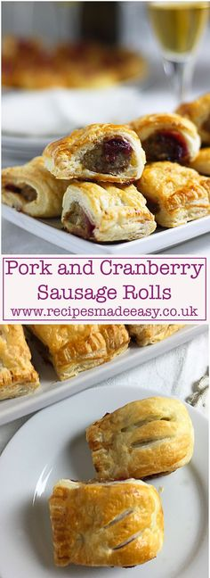 Pork and cranberry sausage rolls Recipes made easy. Easy to make the addition of cranberry sauce to the humble sausage roll lifts them to another level. Perfect for any party spread, picnics or lunch boxes.