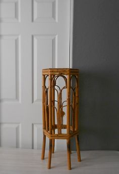 Vintage Rattan Bamboo Rattan Plant Stand / Stool / Planter Display
