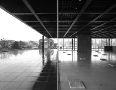 "From Hagen Stier's ""Splitting Mies"" series: A photomontage taken with a Nikon 28mm shift lens on a 3 meter high aluminium ladder inside and outside Mies van der Rohe's New National Gallery, Berlin, Germany."