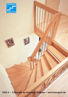 HANGING STAIRS Steps Beech MC special railing KENNGOTT hanging staircase with step material beech MC solid wood, with load-bearing rectangular wood handrail, railing bars in stainless steel and supporting parts in beech solid wood. HANGING STAIRS S