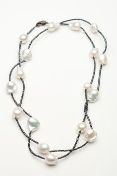 Bijoux de Mer Black Spinel and White Pearl Necklace