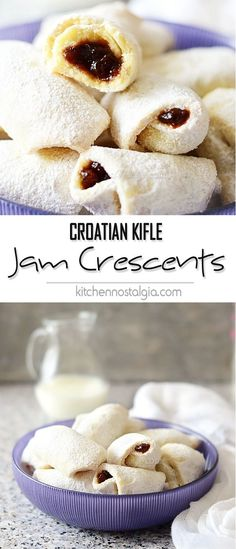 Croatian Kifle – Jam Crescent Cookies Jam Crescent Cookies (Croatian Kifle) – melt-in-your-mouth, soft and flaky cookies filled with your favorite jam Croatian Kifle Recipe, Croation Recipes, Cookie Recipes, Dessert Recipes, Chef Recipes, Bread Recipes, Croatian Cuisine, Crescent Cookies, Crescent Rolls