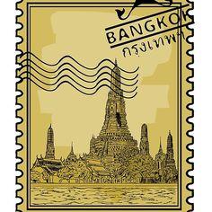 'Bangkok Stamp' by Bangkok, Thai Design, Cool Stickers, Aesthetic Art, Postage Stamps, Cool T Shirts, Thailand, Asia, Laptop