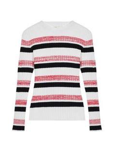 Maje Manuel Striped Rib-knit Sweater In Ecru Maje, Saks Fifth Avenue, Knitted Fabric, Rib Knit, Sportswear, Pullover, Sweaters, Pattern, How To Wear