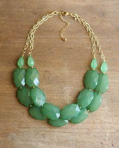 Green Layered Statement Necklace