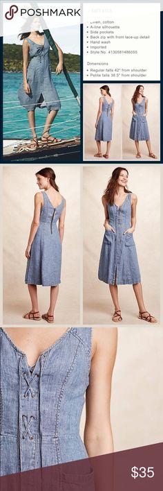 """Anthro """"Atoll Denim Dress"""" by Holding Horses Washed denim, lace up front, zip back closure, unlined.  Great condition.  Measured laid flat and relaxed. Armpit to armpit: 18.5"""" Waist: 15.25"""" Length:  42"""". **  Prices are as listed- Nonnegotiable.  I'm happy to bundle to save shipping costs, but there are no additional discounts.  No trades, paypal or condescending terms of endearment  ** Anthropologie Dresses"""