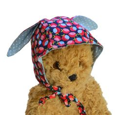 Baby or Child Bonnet w/ Bunny Ears   Navy, Red & Blue Apples   Milk Tooth #baby #newbaby #babybonnet #rabbit #bunny #babyhat #bonnet #babygift #italy