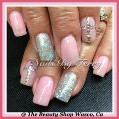 Light pink & sliver gel nails with Rhinestones cross