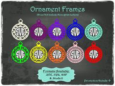 Ornament Frames in .SVG .EPS .DXF & .Studio3 formats Craft Cut Die Cutters Digital Vector Files Instant Download by TheSVGFontStore on Etsy