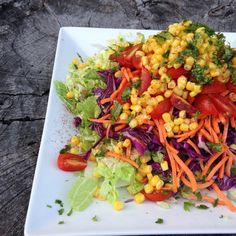 INGREDIENTS 2 cups shredded napa cabbage ½ cup red shredded cabbage ½ cup shredded carrots ½ cup corn kernels 2 tbsp chopped fresh cilantro Dressing: 1 tbsp greek yogurt 1 tbsp olive oil Juice of ½ lime 1 small garlic clove, minced ½ tsp ground cumin ¼ tsp cayenne pepper INSTRUCTIONS Layer salad in order or appearance. Mix dressing ingredients and drizzle over the salad.