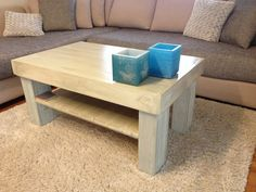 Coffee table made of bed boards