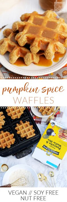Semi-from-scratch Pumpkin Spice Waffles take just minutes to make, leaving you time to do what matters most during the holidays—spend time with your family!  via @frieddandelions @immaculatebakes #immaculateholidays #immaculatebaking #ad