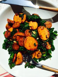 Spicy Chicken Sausage, Sweet Potato & Kale Skillet - Made in 30 minutes!!