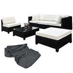 TecTake Hochwertige Aluminium Luxus Lounge mit 2 Bezugssets Poly-Rattan Sitzgruppe Sofa Rattanmöbel Gartenmöbel schwarz