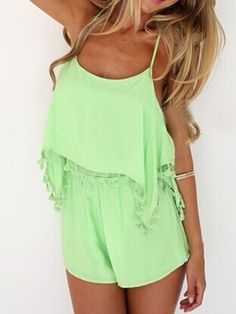 Shop Green Cami Playsuit Romper With Tassels from choies.com .Free shipping Worldwide.$22.99