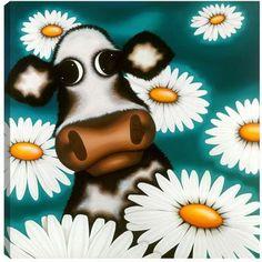 Daisy by Caroline Shotton - Humour Paintings & fine art pictures available in our gallery - Free delivery on all orders over Cartoon Painting, Cow Painting, Animal Close Up, Daisy Art, Cartoon Cow, Cow Art, Cute Monsters, Print Artist, Paintings For Sale