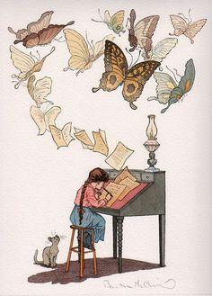 """Envoys"" original illustration from A Child's Garden of Verses by Barbara McClintock Art And Illustration, Fantasy Kunst, Fantasy Art, Fantasy Story, Illustrator Design, Barbara Mcclintock, Art Manga, I Love Books, Art Inspo"