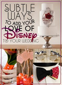 Wedding Ideas 33 Subtle Ways To Add Your Love Of Disney To Your Wedding. I think I need to do some of these, haha. - So maybe you aren't getting married in a castle. You can still add a touch of Disney Magic to your special day. Before Wedding, Wedding Tips, Trendy Wedding, Perfect Wedding, Our Wedding, Dream Wedding, Wedding Venues, Wedding Posing, 1920s Wedding