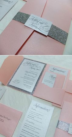 invites pink Silver Glitter Wedding Invitation -- Pink and Silver, Pocketfold Wedding Suite, Glitter Belly Band Invite, Foil Printing Bling Wedding Invitations, Diy Invitations, Wedding Invitation Design, Wedding Stationery, Wedding Cards, Diy Wedding, Wedding Suite, Trendy Wedding, Wedding Flowers