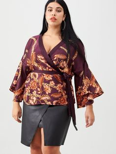 V by Very Curve Printed Kimono Blouse - Plum Plus Size Kimono, Plus Size Blouses, Kimono Blouse, Kimono Pattern, Blouse Styles, Fashion 2020, Jeans And Boots, Dress Outfits, Fitness Models