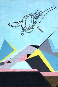 street art mural, beetles and geometric shapes, Williamsburg, Brooklyn, NY