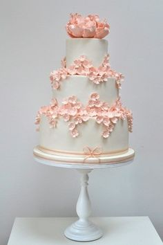 our cake could have peonies and cherries on the top and little flowers on the lower tiers. Ideally blue cake with ivory lace around each tier.