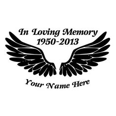 In Loving Memory Angel Wings Die-Cut Decal by BeeMountainGraphics