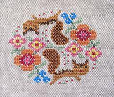 cross stitch squirrels