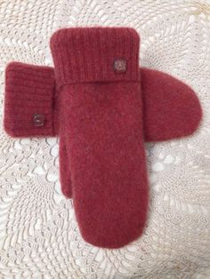 Cashmere mittens-Upcycled-recycled warm felted rust by LadyBaabaa1