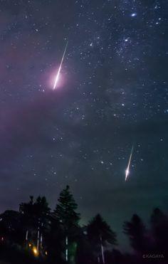 """KAGAYAさんのツイート: """"昨夜北海道にて撮影したペルセウス座流星群の火球(明るい流星)です。…"""