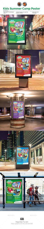 Kids Summer Camp Poster Template Vector EPS, AI Illustrator