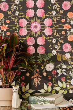 Daniella Midnight Floral Removable Wallpaper | Urban Outfitters