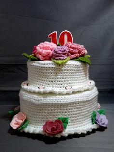 Crochet Cake, Crochet Food, Play Food, Food Crafts, Crochet Patterns, Birthday Cake, Crocheted Toys, Desserts, Cakes