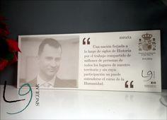 Muestra del Rey de España Felipe VI y un frangmento de su discruso de proclamación.