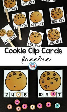 Cookie Counting Clip Cards is great math activity for students to practice numbers and counting anytime of the year. & free printable is perfect for preschool, kindergarten, and first grade students. Kindergarten Centers, Math Classroom, Preschool Activities, Preschool Kindergarten, Kindergarten Freebies, Space Activities, Kindergarten Reading, Classroom Ideas, Counting Activities