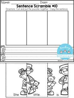 FREE Sentence Building for Beginning Readers & Writers by Teaching Biilfizzcend Reading Activities, Literacy Activities, Literacy Centres, Physical Activities, Kindergarten Worksheets, Kindergarten Classroom, Sentence Writing, Writing Sentences, Simple Sentences