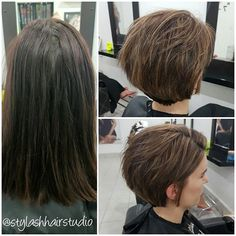 Love what I do! Thanks to Lisa for trusting me to do this massive change that looks amazing 😊  #lorealproaus #blondefident #highlights #longpixie #texturedhair #middlemounthairdresser