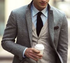 Another jacket and cardigan combination. Looks great together. A nice blend of colors.