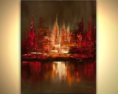City painting Original modern palette knife Ready by OsnatFineArt, $345.00