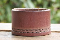 CUSTOM HANDSTAMPED dark brown leather cuff with stitching by mothercuffer on Etsy