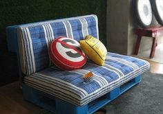 Love this idea from an old pallet for my son's room.  There are no instructions, though. :-(