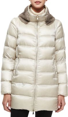 Argy Fur-Trim Puffer Coat. This is an awesome style.