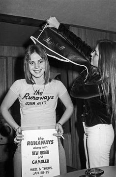 Joan Jett at an early gig for The Runaways. Check out those golden locks.