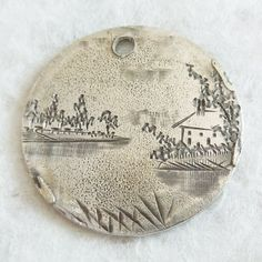 Vintage-2-Sided-BIRDS-LANDSCAPE-LOVE-TOKEN-Coin-Charm-Engraved-AHV