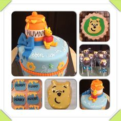 Winnie the Pooh baby shower cake, cookies, and cake pops. Pooh bear, hunny pots, bees, bow.   www.facebook.com/cakeitorleaveitcakesbymarianne