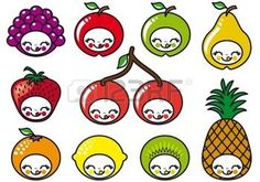fruit cartoon: set of cute fruit characters, vector illustration