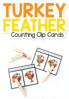 Thanksgiving Math, Coloured Feathers, Turkey Feathers, Early Math, More And Less, Fun Challenges, Learning Through Play, Printable Cards, Paper Clip