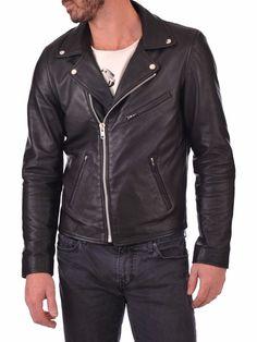 New Men's Black Leather Jacket Biker Motorcycle Lambskin Jacket NFS 041 Mens Leather Bomber Jacket, Lambskin Leather Jacket, Leather Jackets, Cow Leather, Jacket Men, Real Leather, Black Leather, Stylish Men, Mens Fashion